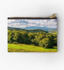 forest on a grassy hill in afternoon Studio Pouch