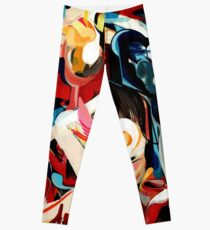 Expressive Abstract Composition painting  Leggings