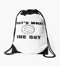 "Trending Volleyball ""That's What She Set"" Funny Drawstring Bag"