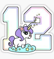 Number 12 cute unicorn rainbow pastel Sticker