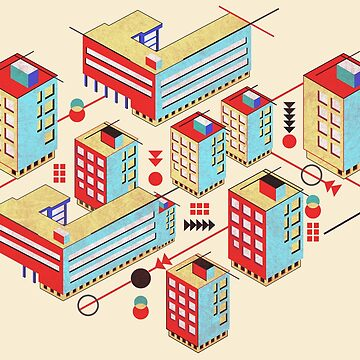 Bauhaus City Architecture Pattern in Bright Primary Colors by vinpauld