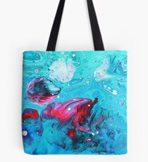 Green and Pink Acrylic Pour Tote Bag