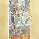 Lady of October with Opal and Marigolds Spirit Shrine Goddess Mucha Inspired Birthstone Series by angelasasser