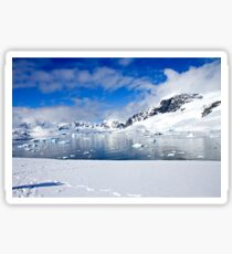 Icebergs and mountains of Cuverville Island near Antarctic Peninsula Sticker