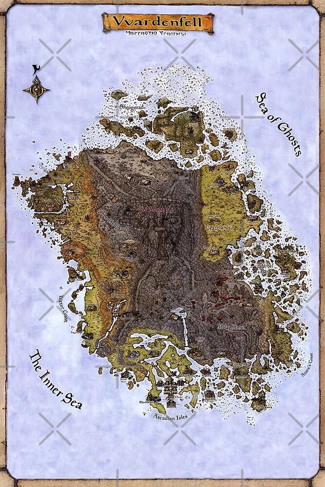 Vvardenfell Map, Morrowind, Elder Scrolls - Old School Map for An ...