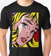 Pop art girl face, Roy Lichtenstein Unisex T-Shirt