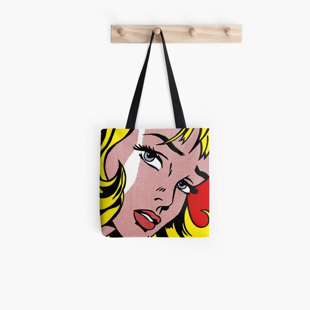 Pop-Art-Mädchen Gesicht, Roy Lichtenstein Stofftasche