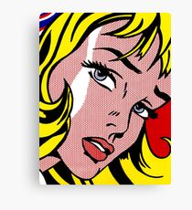 Pop art girl face, Roy Lichtenstein Canvas Print