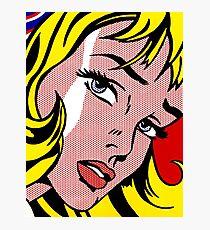 Pop art girl face, Roy Lichtenstein Photographic Print