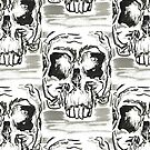 Hand painted 4x6 black and white ink skull on watercolor postcard by mwesselcreative