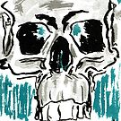 Learn - 4x6 color skull on watercolor postcard by mwesselcreative