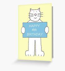 Happy 4th Birthday cute cartoon cat. Greeting Card