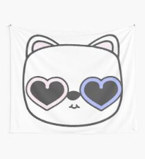 Cool Kitty Cat with Heart Sunglasses Wall Tapestry