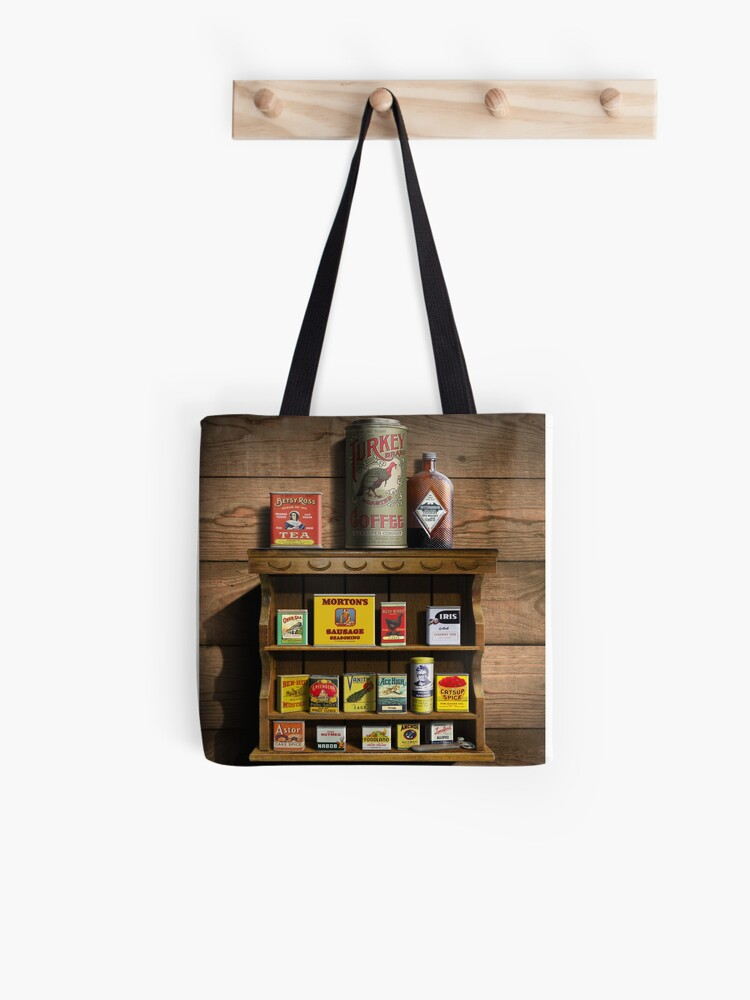 Old Fashioned Spice Rack and Spice Tins, spice Vintage Spice Tins,  Nostalgic Spice Cans Art, Americana Kitchen Decor | Tote Bag