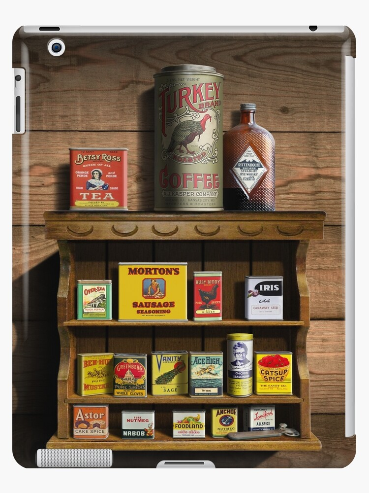 \'Old Fashioned Spice Rack and Spice Tins, spice Vintage Spice Tins,  Nostalgic Spice Cans Art, Americana Kitchen Decor \' iPad Case/Skin by Walt  Curlee
