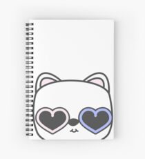 Cool Kitty Cat with Heart Sunglasses Spiral Notebook