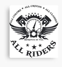 All Riders Classic Logo Distressed Black Canvas Print