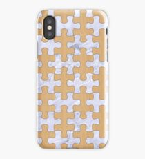 PUZZLE1 WHITE MARBLE & NATURAL WHITE BIRCH WOOD iPhone Case
