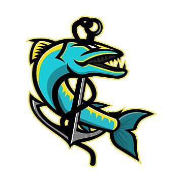 Barracuda and Anchor Mascot by patrimonio