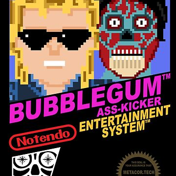 Retro Video Games Nintendo NES Cover Art Bubblegum Ass Kicker by McPod