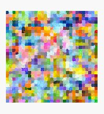 geometric square pixel pattern abstract in blue pink yellow orange Photographic Print