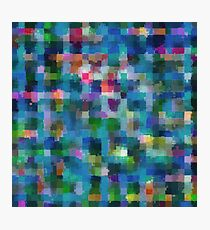 geometric square pixel pattern abstract in blue green pink yellow Photographic Print
