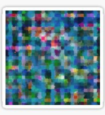 geometric square pixel pattern abstract in blue green pink yellow Sticker