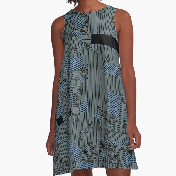 Blue Glow Circuit Board A-Line Dress