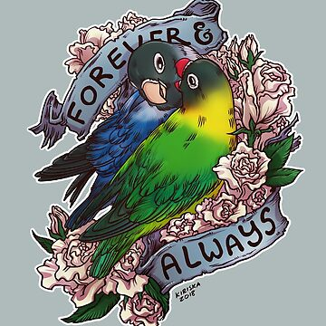Forever and Always (black-masked lovebird) by kiriska