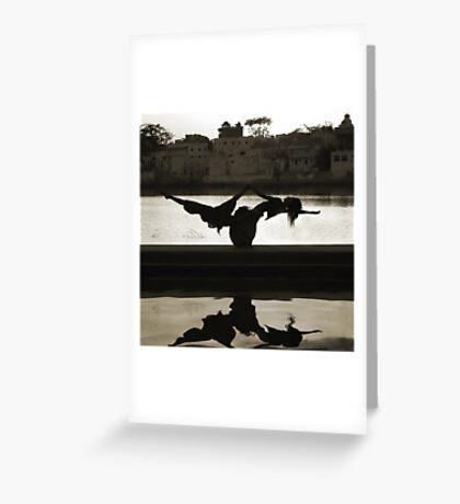 Yoga at the Lake's Edge Greeting Card