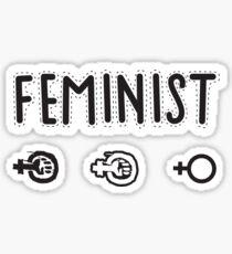 Feminist textile organic style black and white (on white background) Sticker