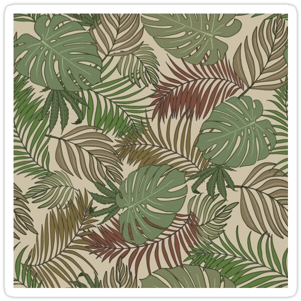 Warm Tropical Leaves & Cannabis Print