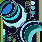 Deco Circles Blue by marybedy