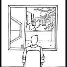 Person Looks Through Window by angeldramos