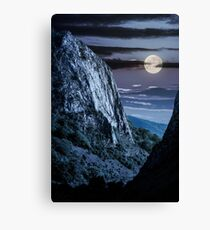 cliffs of Trascau mountains canyon at night Canvas Print