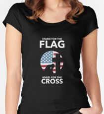 Stand for the Flag Kneel For The Cross Women's Fitted Scoop T-Shirt