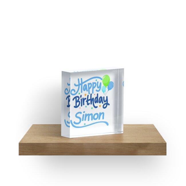 Joyeux Anniversaire Simon Blocs Acryliques Par Pm Names Redbubble