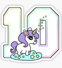 Number 10 cute unicorn rainbow pastel Sticker