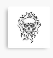 Human Skull with Fire Canvas Print