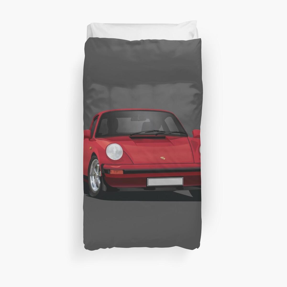 Porsche 911 Illustration Red Duvet Covers By Knappidesign Redbubble