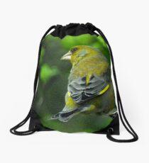 Greenfinch on feeder Drawstring Bag