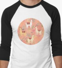 Mexican Llamas on Coral  Men's Baseball ¾ T-Shirt