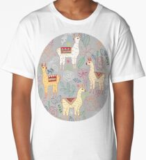 Mexican Llamas on Pale Grey  Long T-Shirt