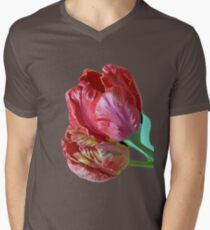 Two Red Tulips Vector Isolated Mens V-Neck T-Shirt