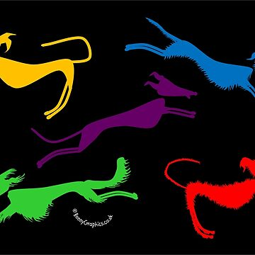 Rainbow silhouette sighthounds! by BonnyGraphics