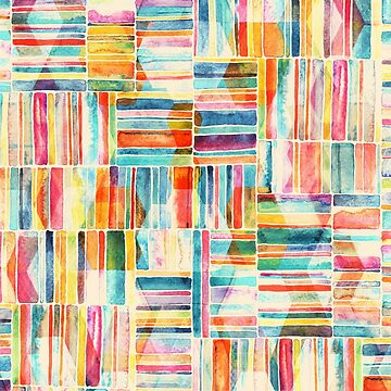 Summer Pastel Geometric and Striped Abstract on cream  by micklyn