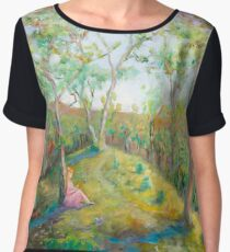 Girl in the Woods in the style of Renoir Chiffon Top