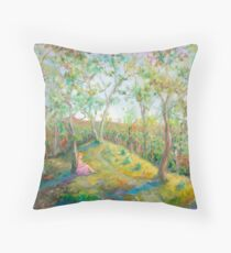 Girl in the Woods in the style of Renoir Throw Pillow
