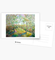 Girl in the Woods in the style of Renoir Postcards