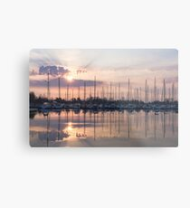 Softly - God Rays and Yachts in Rose Gold and Amethyst Metal Print